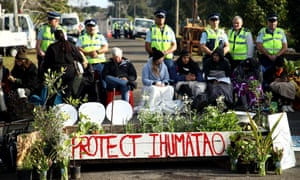Protesters gather at the site in South Auckland called Ihumātao where a company wants to build 500 homes.