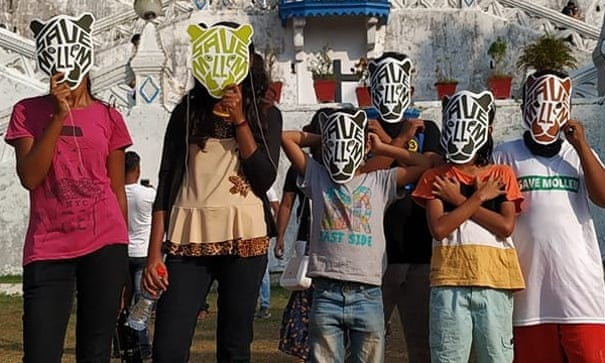 Young environmental campaigners wear masks to get their point across. Photograph: @savemollemgoa
