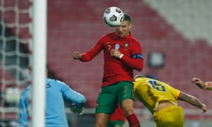 Cristiano Ronaldo heads home Portugal's sixth goal.