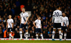 Tottenham Hotspur's players look dejected after Craig Dawson's equaliser for West Brom as they realise their hopes of catching Leicester are fading fast.