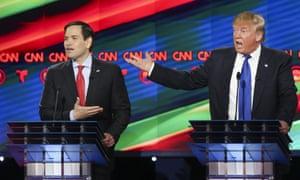 Marco Rubio and Donald Trump trade verbal blows in Thursday's Republican debate in Houston, Texas.