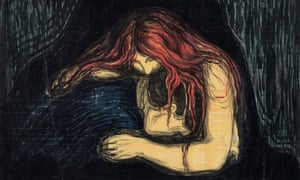 Intensity of confession … Vampire II, 1896, by Edvard Munch.
