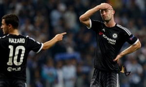 Gary Cahill, the senior player in Chelsea's central defence in John Terry's absence, and Eden Hazard react to the defeat at Porto.