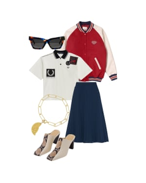Peter Bevan, fashion assistant: 'Join the Ivy league with a varsity jacket.' Jacket, £85, urbanoutfitters.com. Polo shirt, £85, fredperry.com. Pleated skirt, £115, Iris & Ink at theoutnet.com. Sunglasses, £100, aceandtate.com. Bracelet, £150, sondrlondon.com. Heeled mules, £245, aeyde.com