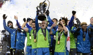 The Sounders celebrate their first MLS Cup victory