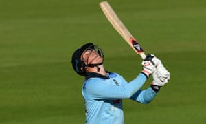 England's batsman Tom Banton hits the ball straight into the air before being caught out.