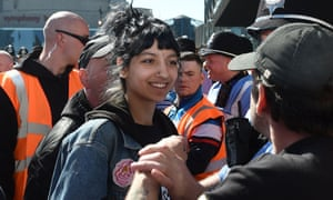 Saffiyah Khan staring down English Defence League protester Ian Crossland during a demonstration in Birmingham.