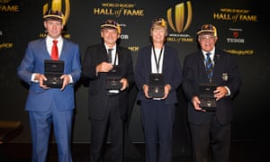 Ronan O'Gara (left) with his fellow World Rugby Hall of Fame inductees Pierre Villepreux, Liza Burgess and Bryan Williams in Rugby, England, this week.