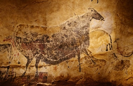 Detail of a prehistoric cave drawing in Lascaux, France