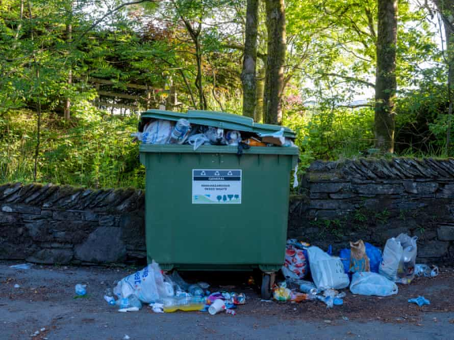 Overflowing rubbish in a car park near Windermere.