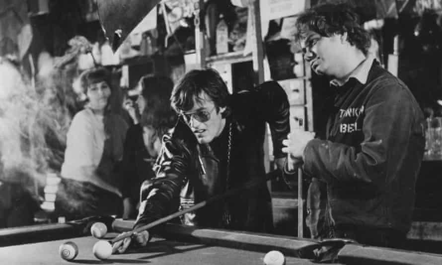 Michael J Pollard, right, with Peter Fonda in The Wild Angels, 1966.