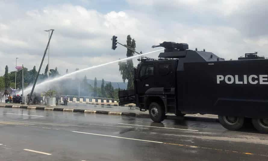 Police use water cannon to disperse protesters in Abuja on Sunday