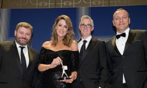Paul Murray, Peta Credlin, David Speers and Kieran Gilbert at the 2017 Logie awards.