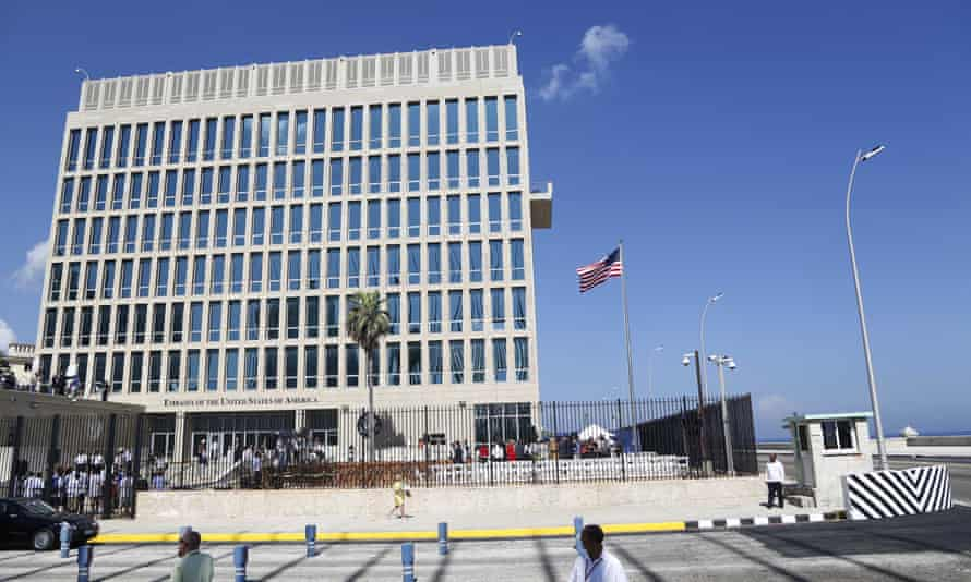 A US flag flies at the embassy in Cuba, where cases of Havana syndrome were first reported.