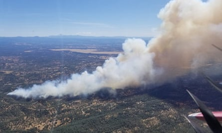 This photo provided by Cal Fire shows an aerial view of the Mountain Fire on 22 August.