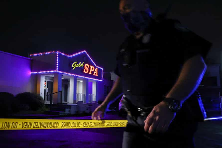 Police tape at the scene outside Gold Spa on Tuesday night.