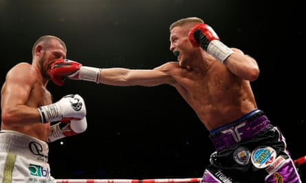 Terry Flanagan, right, catches Derry Mathews with a straight right during his points win.