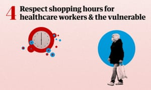 Graphic showing a man waiting to enter a shop, to allow healthcare workers and the vulnerable to enter first