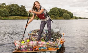 What a load of rubbish … Lizzie with her new Trash Raft.