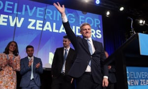 English waves to supporters at National's election event in Auckland.