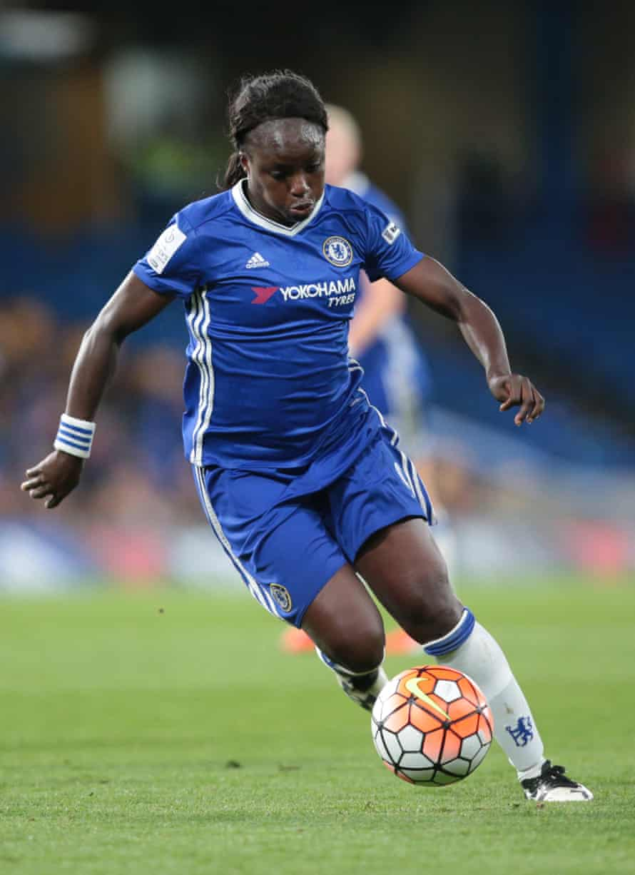 Eni Aluko in action for Chelsea against Wolfsburg in the women's Champions League last season.
