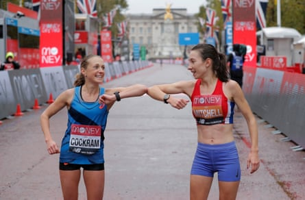 Natasha Cockram (left) and Naomi Mitchell celebrate at the London Marathon.
