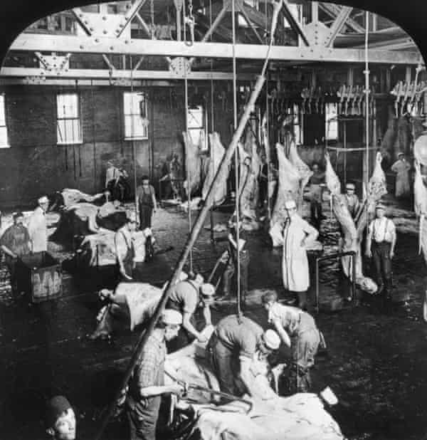 A Swift and Company meatpacking house in Chicago, circa 1906.