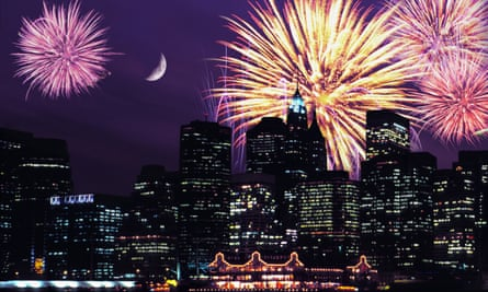 Manhattan skyine with fireworks