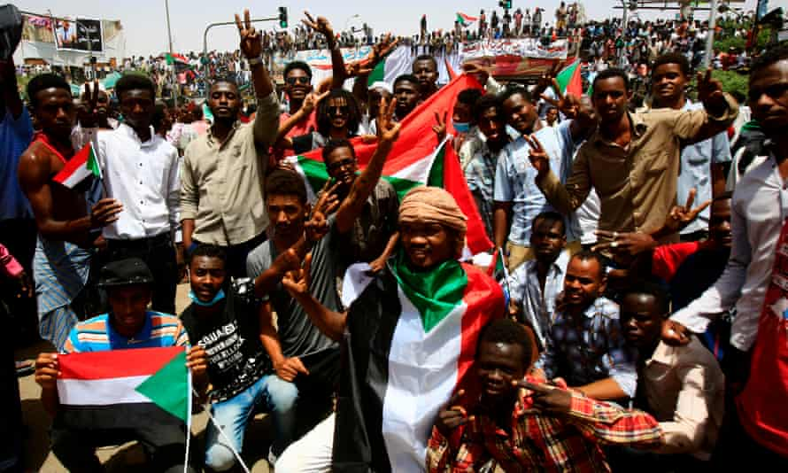 Protesters in central Khartoum after the ousting of the Sudanese president Omar al-Bashir, April 2019