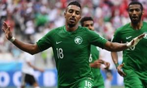 Saudi Arabia's Salem al-Dawsari celebrates his late winner against Egypt