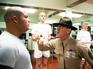 Vincent D'Onofrio, Matthew Modine and drill sergeant R Lee Ermey in Full Metal Jacket.