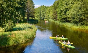 Kayaking at Krutynia river, Mazury region, Poland