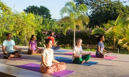 Yoga class at Meenakshi Ashram