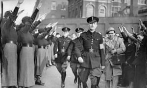 Oswald Mosley at a fascist rally in East London, October 1936.