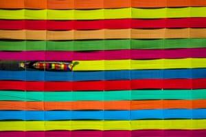 Colours of Inle Fabrics, Inle Lake, Myanmar.