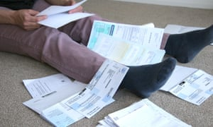 A pile of household bills.
