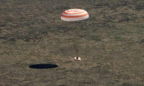 The capsule Soyuz MS-15 carrying the crew lands in Kazakhstan.