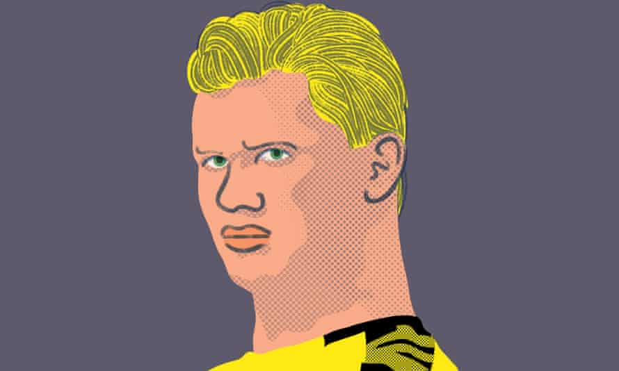Erling Haaland illustration by Lo Cole