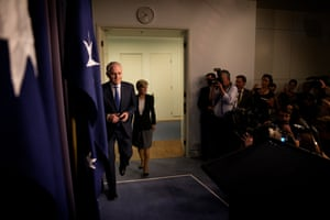 Just after 11.40 pm, the Prime Minister designate walked into the blue room to face the media.