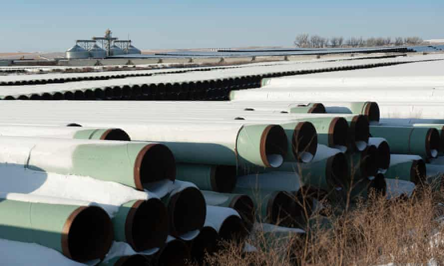 A depot used to store pipes for the planned Keystone XL oil pipeline in Gascoyne, North Dakota in 2014.