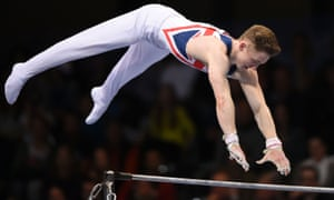 Britain's Nile Wilson performs during the Mens Horizontal Bar competition of the European Gymnastics Championships in Bern