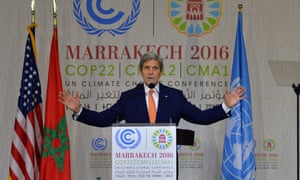 John Kerry, the US secretary of state, at the climate talks in Marrakech
