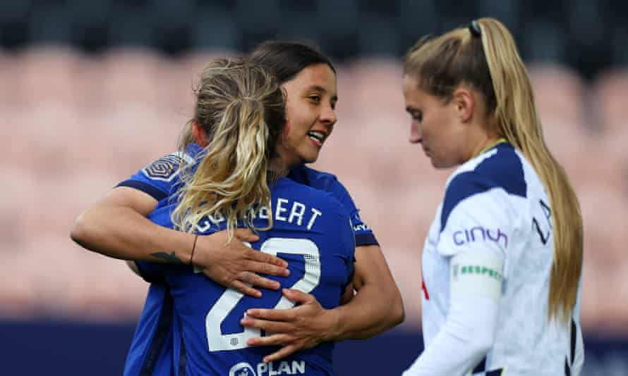 Sam Kerr celebrates with Erin Cuthbert after scoring her second goal to put Chelsea 2-0 up.