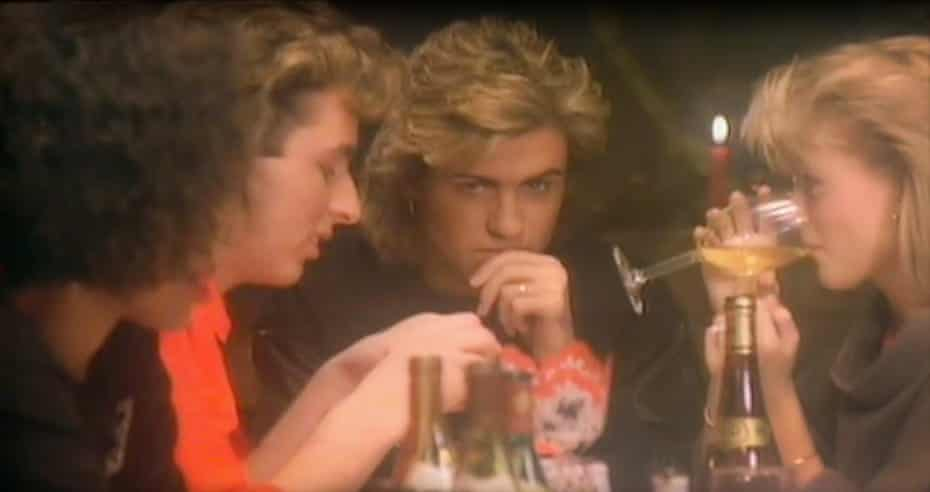Kathy Hill (far left) and George Michael in the video for Last Christmas.
