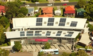 Solar panels on the roof of Wallsend library in Newcastle