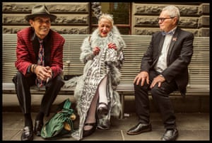 Friends wait outside Melbourne Town Hall.