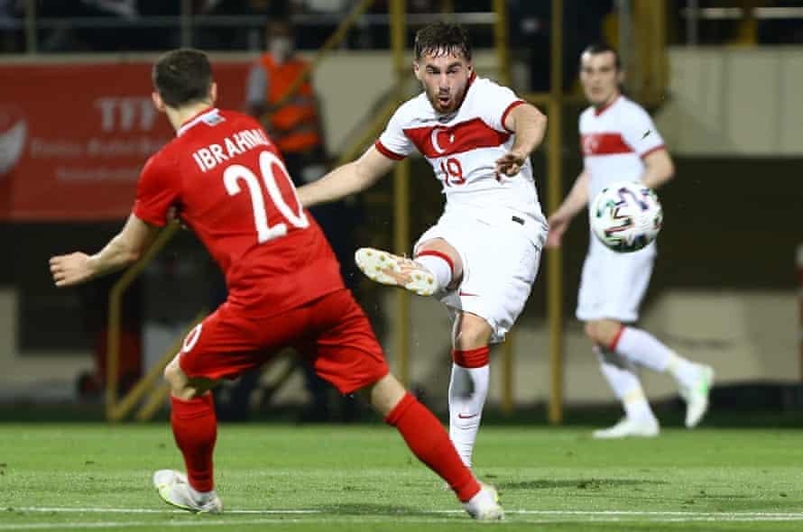 Orkun Kokcu in action for Turkey against Azerbaijan.