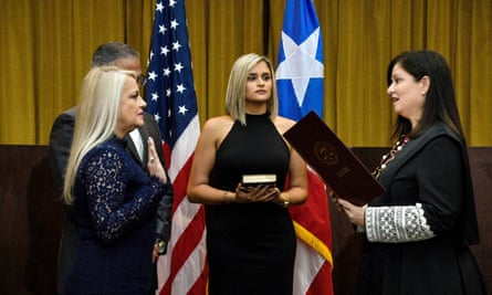 Wanda Vazquez, the former secretary of justice, is sworn in as the governor of Puerto Rico in San Juan.