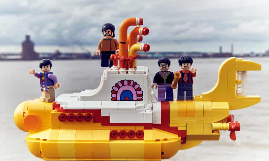 The Beatles and their Yellow Submarine, in Lego form.
