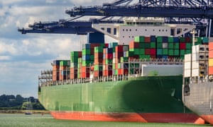 A container ship docks at Felixtowe in the UK.